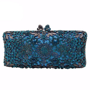 Turquoise Blue Women Crystal Clutch Evening Bag Bridal Wedding Party Dinner Diamond Minaudiere Handbag Purse - LiveTrendsX