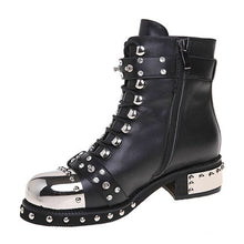 Load image into Gallery viewer, Sexy Rivets Womens Ankle Boots Genuine Leather Chunky Heel Ladies Lace Up Goth Punk Platform Shoes Boots Spring Big Size - LiveTrendsX