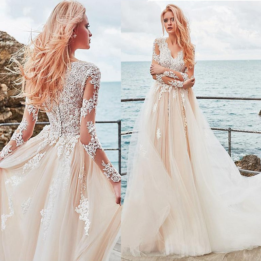 Exquisite Tulle V-neck Neckline A-line Wedding Dress With Lace Appliques Elegant Tulle Nude Long Sleeves Bridal Gowns - LiveTrendsX