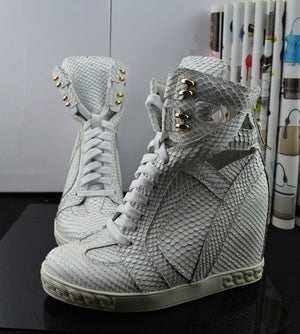 Fashion White Python Leather Ladies Lace Up High Tops Ankle Buckle Women Sexy Wedge Sneakers Cut Out Style Casual Shoes Size 41