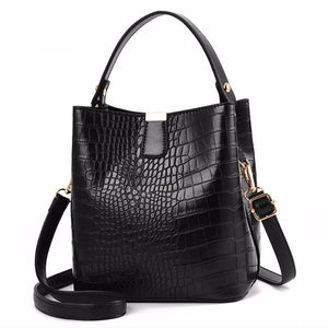 Retro Alligator Bucket Bags Women Crocodile Pattern Handbag Capacity Casual Crocodile Shoulder Messenger Bags Ladies PU Purse - LiveTrendsX