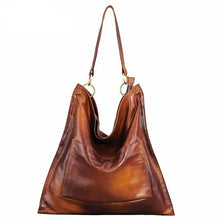 Load image into Gallery viewer, Retro Spray Genuine Leather Women Hobo Messenger&Handbags Front Pocket Large Capacity Vintage Shoulder Bags Ladies Tote - LiveTrendsX