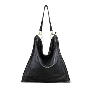 Retro Spray Genuine Leather Women Hobo Messenger&Handbags Front Pocket Large Capacity Vintage Shoulder Bags Ladies Tote - LiveTrendsX