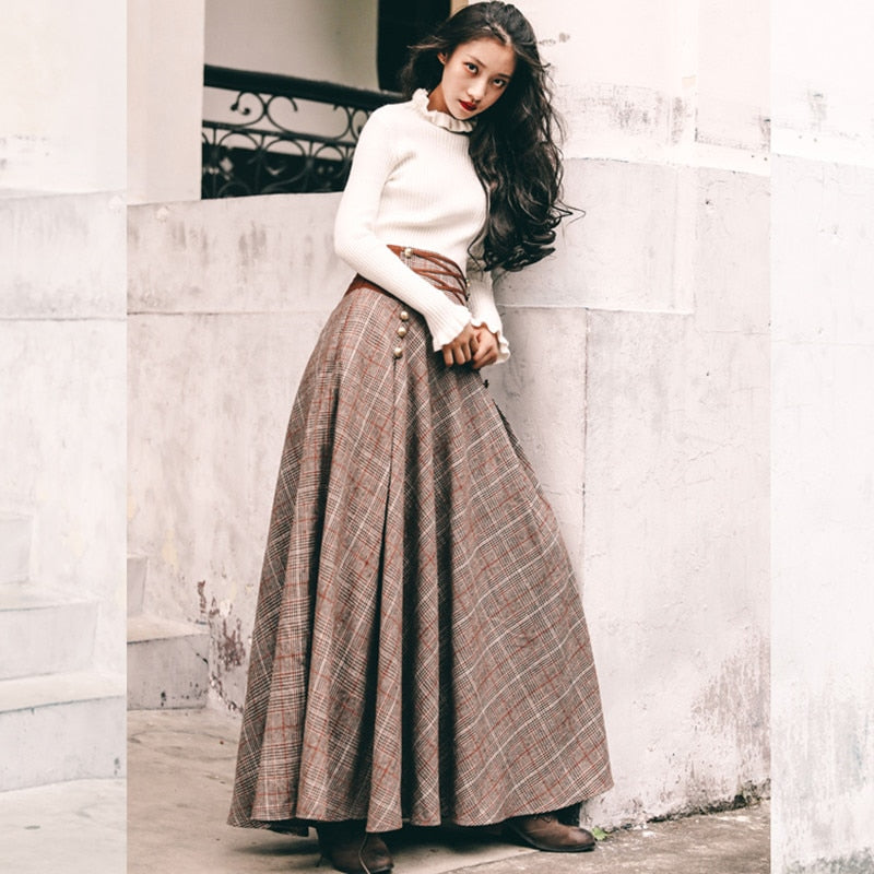 Vintage England Style Elegant Knitted Two Piece Women Sets 2 Pieces Sweater Corset Lace-up High Waisted Maxi Skirt Matching Set - LiveTrendsX
