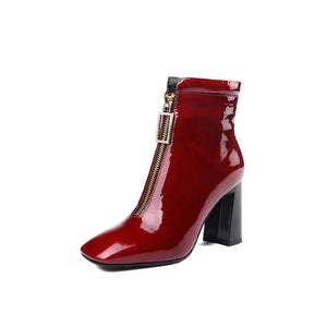 Cow Leather Ankle Boots For Women High Heels Zipper Short Ladies Shoes Woman Square Toe Party Wedding Pumps
