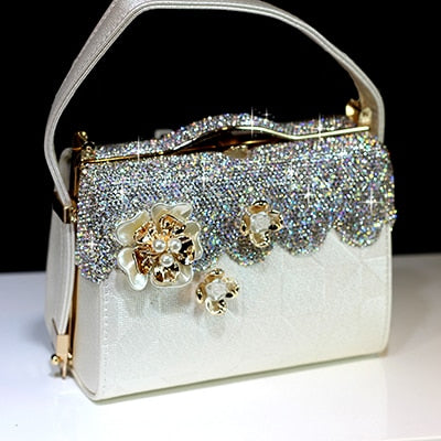 Women Crystal Totes Luxury Handbag Flowers Shoulder Bags Bridal Wedding Chain Bag Genuine Leather Rhinestones Evening Party Bags - LiveTrendsX