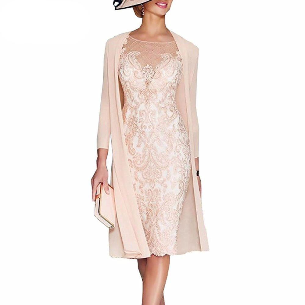 Light Pink Women's Mother of The Groom Dresses Tea Length Lace Mother of the Bride Dress with Jacket Formal Evening Gowns - LiveTrendsX