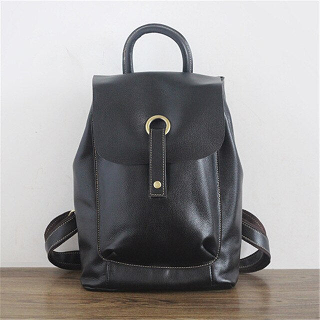 Nesitu High Quality New Fashion Black Blue Brown Genuine Leather Women's Backpack Female Girl Backpacks Lady Travel Bag - LiveTrendsX