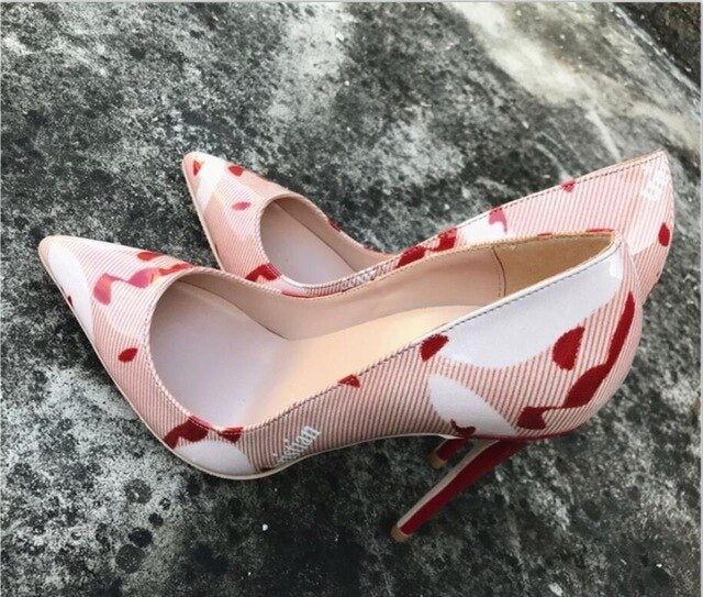 Red Printed Patent High Heel Shoes Woman 12cm Sexy Pumps Shoes  Pointed Toe Slip-on Shoes Night Club Wearing Pigalle - LiveTrendsX
