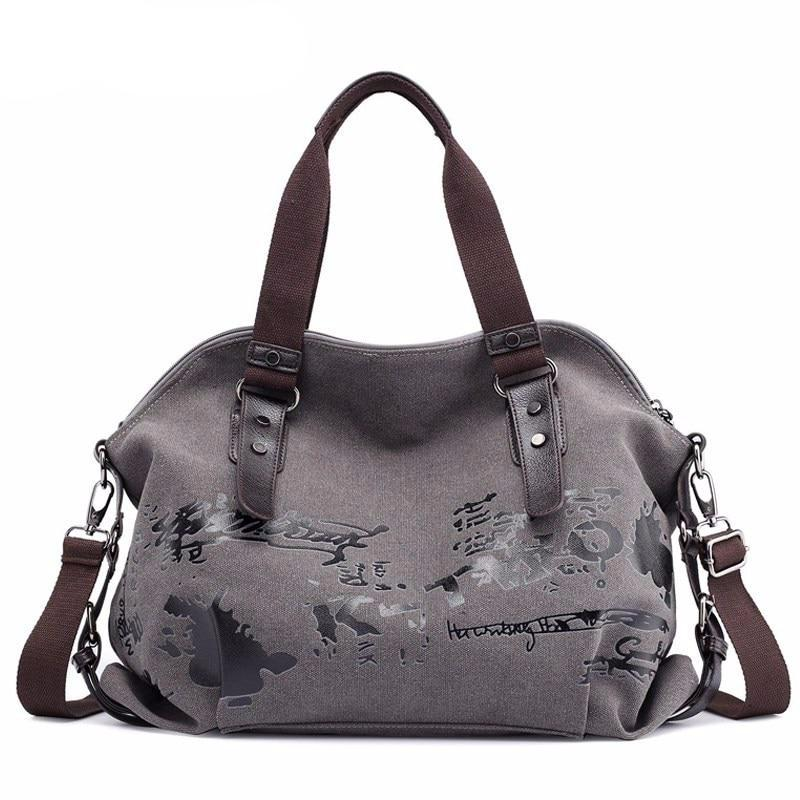 Women's Shoulder Bags Vintage Graffiti Canvas Handbags Famous Designer Female Shoulder Bags Ladies Totes Fashion Large Bag - LiveTrendsX