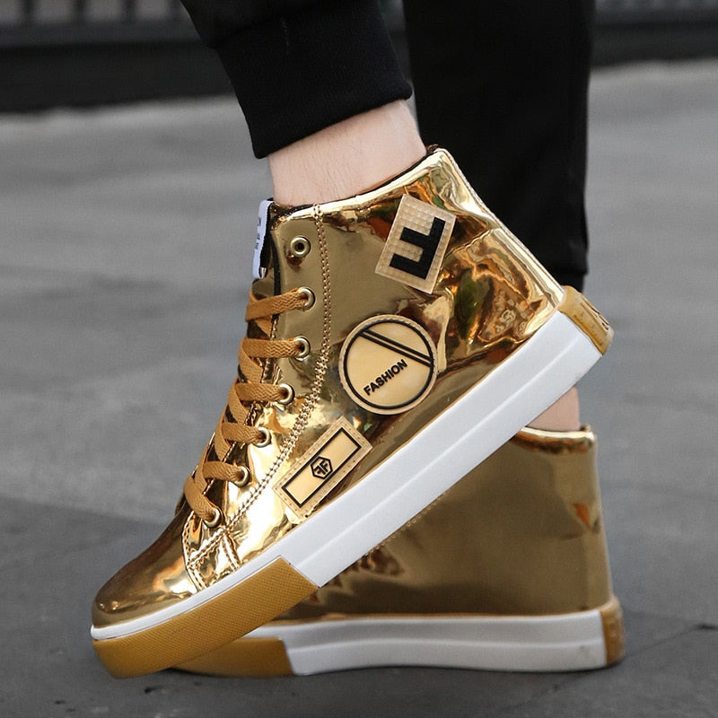Plus Size 39-46 Men's High-top Bright Skateboarding Shoes Bling Bling Sports Shoes Casual Sneakers Sequin Shoes Chaussure Homme