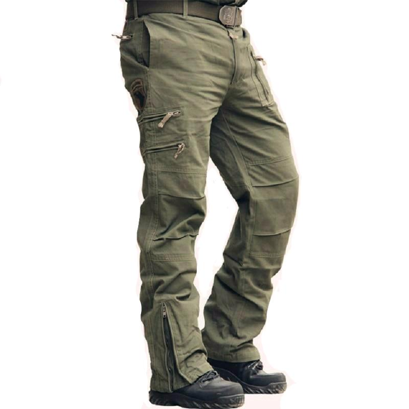 Tactical Pants Army Male Camo Jogger Plus Size Cotton Trousers Many Pocket Zip Military Style Camouflage Black Men's Cargo Pants - LiveTrendsX