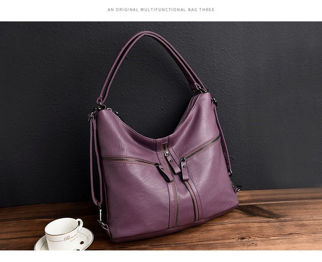 3 In 1 Multifunctional Backpack Women Soft Leather Backpack Female Travel Shoulder Bag Convertable Hand Bags Sac A Dos Femme - LiveTrendsX