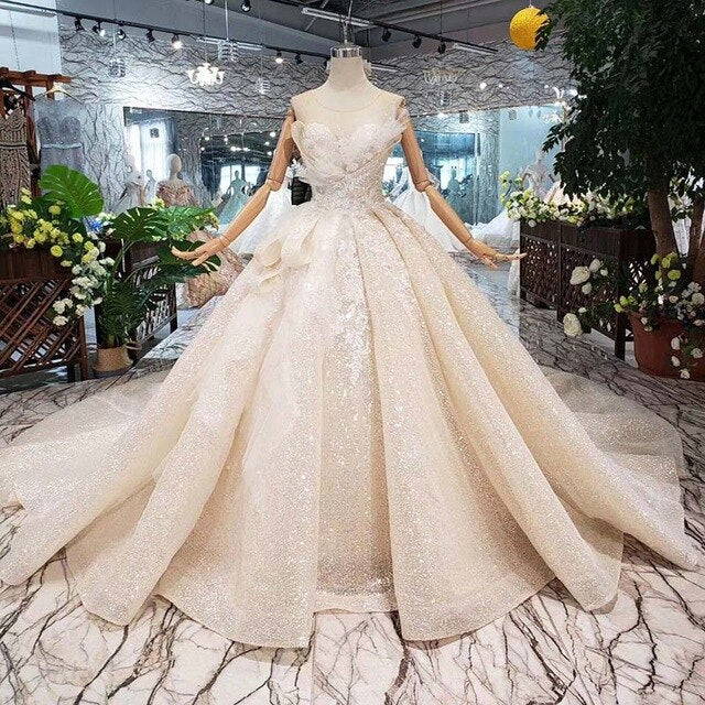 Boda Special Wedding Dress  o-neck sleeveless keyhole back handmade ball gown bridal dresses wedding gownsgelinlik HTL304 - LiveTrendsX
