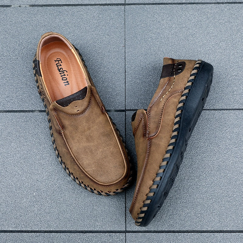 New Comfortable Casual Shoes Loafers Men Shoes Quality Split Leather Shoes Men Flats Hot Sale Moccasins Shoes Big Sz - LiveTrendsX