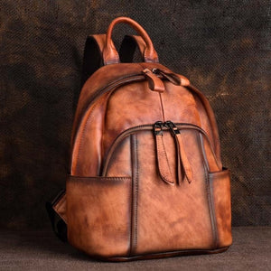 Genuine Leather Daypack Women Backpack Brush Color Bag Knapsack Real Cowhide School Book Bags Female Vintage Rucksack - LiveTrendsX