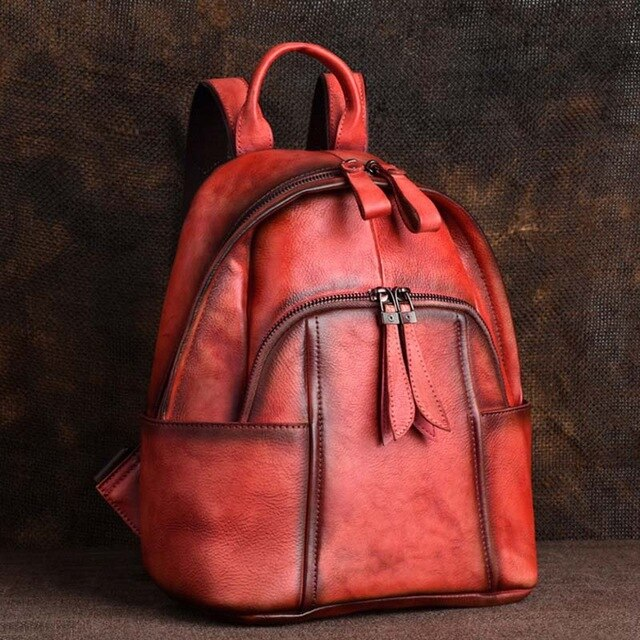 High Quality Genuine Leather Women  Backpack Brush Color Bag Retro Knapsack Real Cowhide School Book Rucksack Travel Daypack - LiveTrendsX
