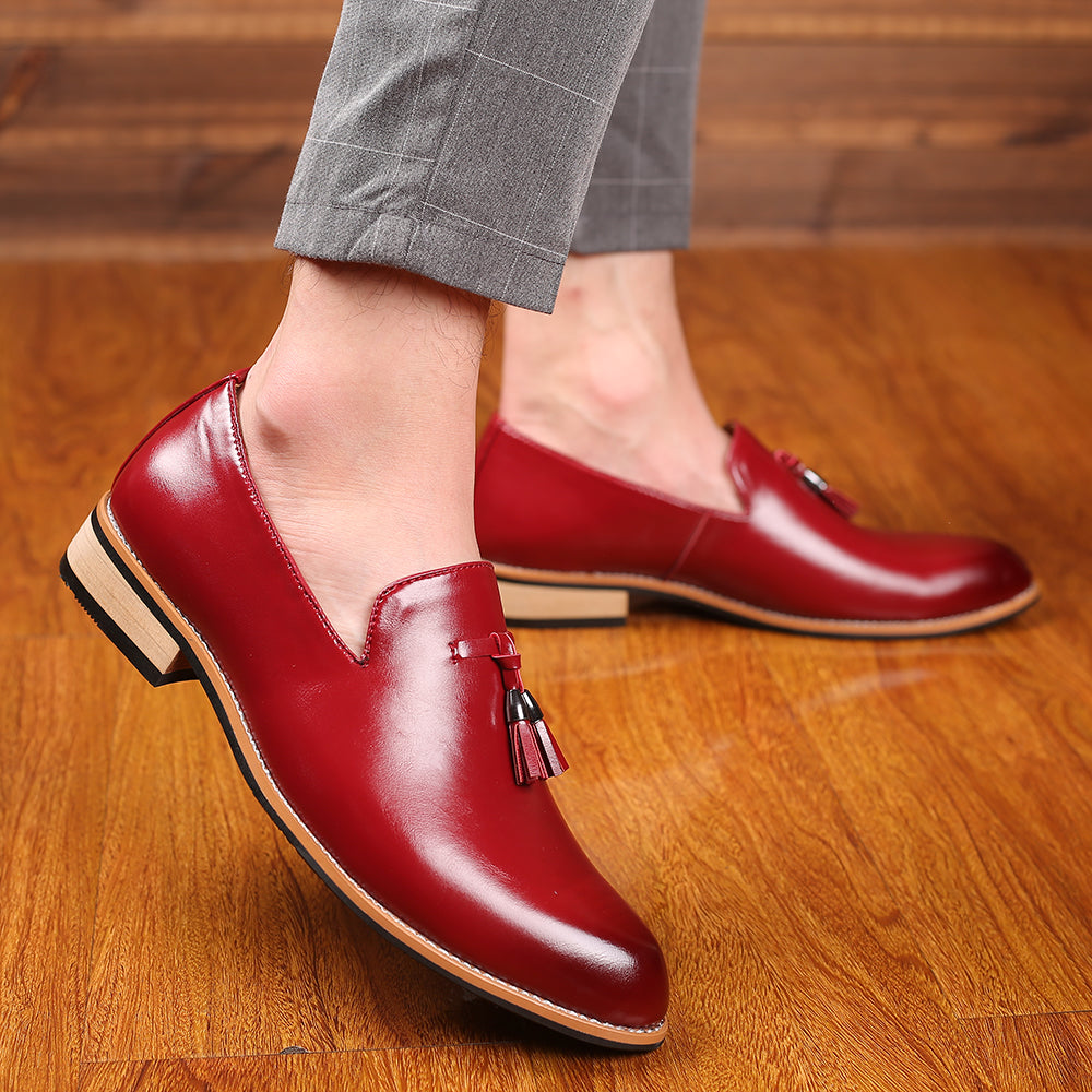 Luxury Brand PU Pointed Toe Business Brogue Shoes Men Dress Casual Soft Rubber Shoes Breathable Wedding Shoes 3 Colors - LiveTrendsX