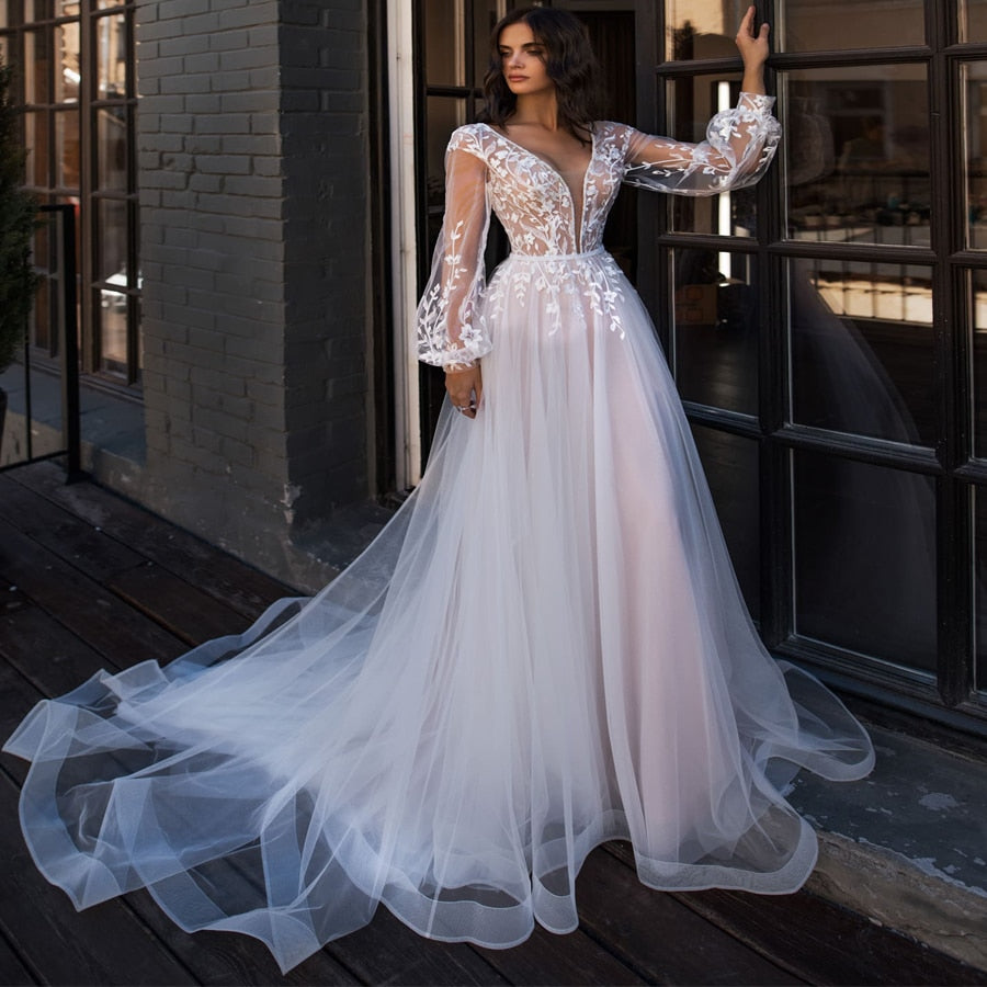 Boho Wedding Dress Puff Long Sleeves A-Line Appliques Floor Length Bride Dress Custom Made Princess Wedding Gown - LiveTrendsX