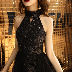 Evening Dress Bling Black Romantic Tiered Hem  Formal Dresses Women Fashion Halter Zipper Long Party Gown - LiveTrendsX