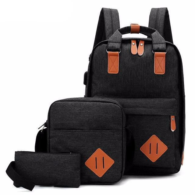 Men's Backpack Bag Male Polyester Laptop Backpack Computer Bags High School Student College Students USB Charging 3 Pieces - LiveTrendsX
