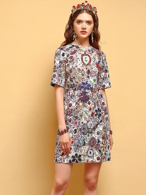 Summer Fashion Dress Women's Gorgeous Crystal Beading Printed Elegant Vintage Vacation Ladies Mini Dresses - LiveTrendsX