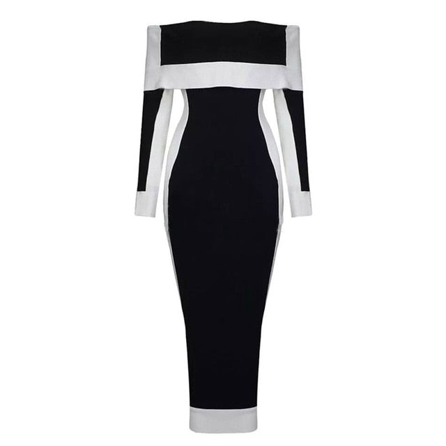 New Long Sleeve Bodycon Bandage Dresses Women Vestidos 2019 Runway Party Dress Midi Celebrity Sexy Clubwear Dress Slim - LiveTrendsX