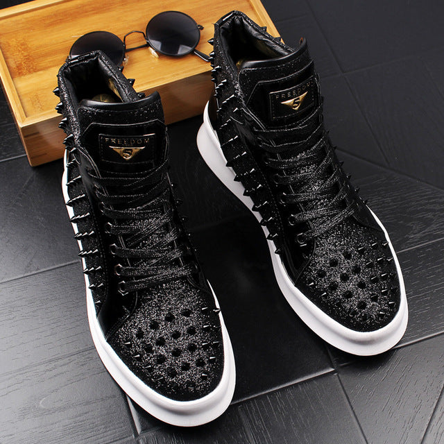 Men Fashion Ankle Boots Spring Autumn Rivets Loafers Male High Top Luxury Shoes for Man Punk Footwear Shoes - LiveTrendsX