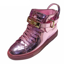 Load image into Gallery viewer, Metallic Flats Elevator Women Wide Fit Shoes Ladies Patent Leather Brand Rose Gold Hidden Trainers Sneakers Creepers High Top - LiveTrendsX