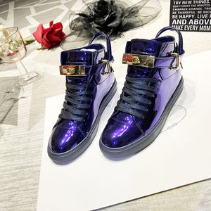 Metallic Flats Elevator Women Wide Fit Shoes Ladies Patent Leather Brand Rose Gold Hidden Trainers Sneakers Creepers High Top