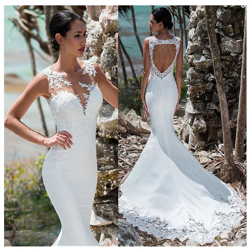 Sexy Mermaid Wedding Dress Sleeveless Lace Appliqued Illusion Back Boho Wedding Gown Long Train Bride Dress - LiveTrendsX