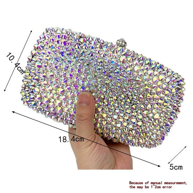 AB Silver Clutch Bags Designer glaring Crystal rhinestone Evening Bags Long Wedding bride Purse Day Clutches - LiveTrendsX