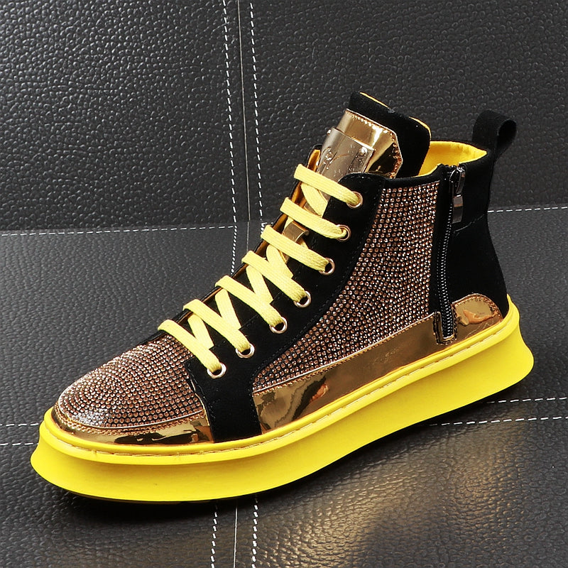 Men High Top Gold Glitter Sneakers Lace Up Crystal Platform Blue Flats Gold Shoes Man krasovki Bling Silver Snickers Shoes - LiveTrendsX