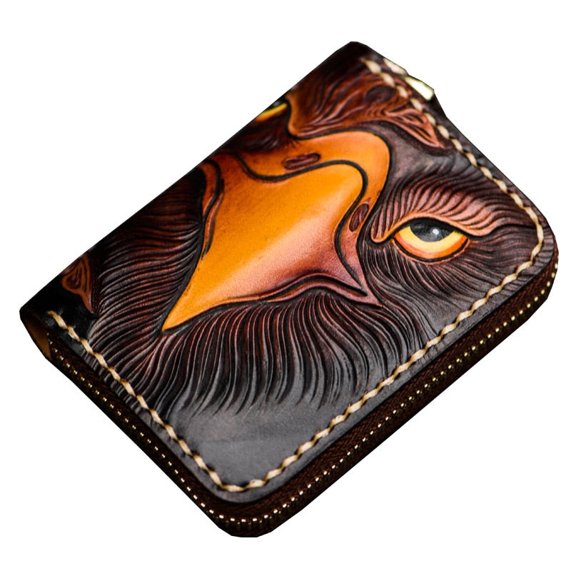 Handmade Card Holder Unisex Short Leather Carton Zipper Bag Accord Card Bag Vintage Chinese Style Leather Wallet - LiveTrendsX
