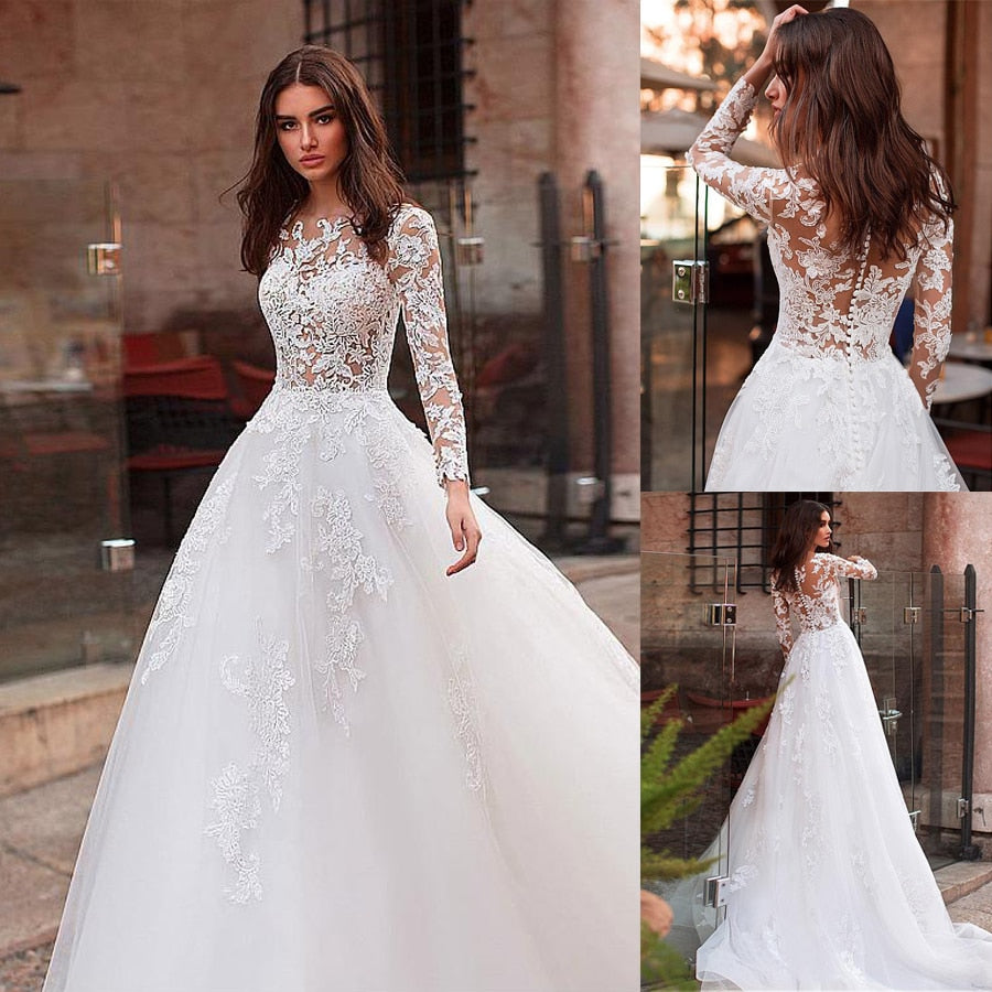 Attractive Tulle Jewel Neckline See-through Bodice A-line Wedding Dress With Lace Appliques & Beadings Long Sleeves Bridal Dress - LiveTrendsX