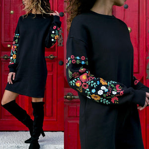 Dress Women Floral Print Long Sleeve O-Neck Loose thin Warm sexy Mini Dresses Elegant multicolor Black mujer Autumn vestido 2019 - LiveTrendsX