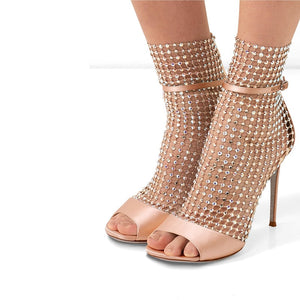 Peep Toe Crystal Beads Net Sandals Women Silk Upper 10cm High Heels T-Show Summer Shoes Women Zapatillas Mujer Red - LiveTrendsX