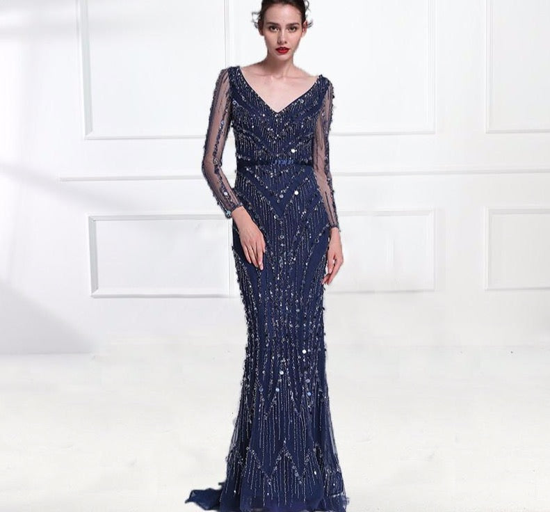 Luxury Pink Navy Blue Beading Mermaid Tulle Evening Dress V-Neck Long Sleeves Elegant Evening Gowns 2020