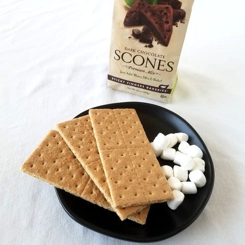 Dark Chocolate Scone Mix, Marshmallows, and graham crackers on a plate