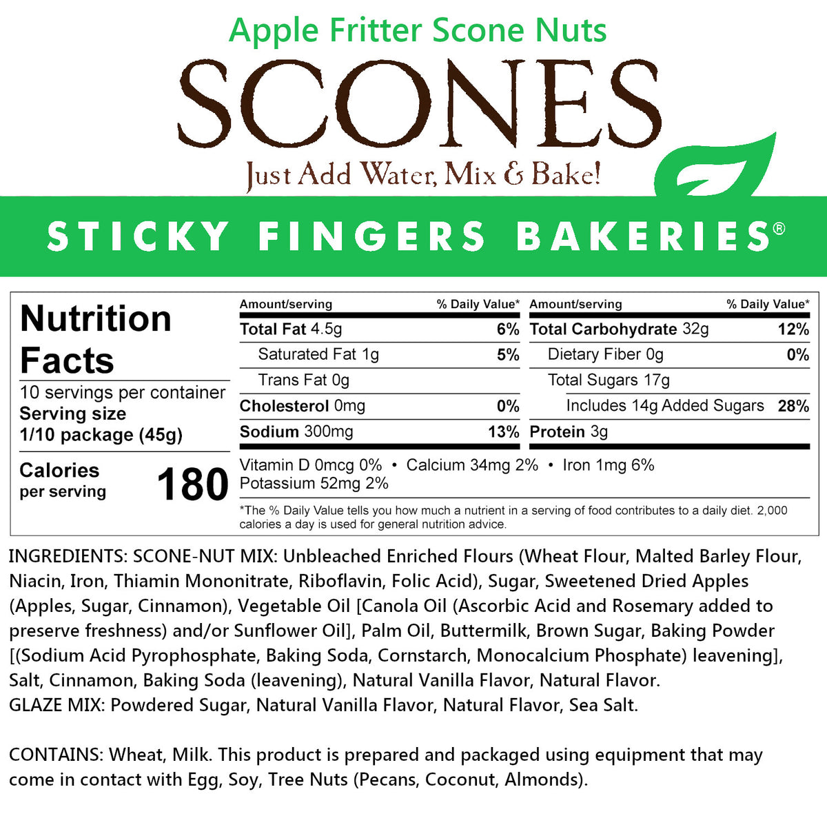 Apple Fritter Scone Nuts Mix Sticky Fingers Bakeries