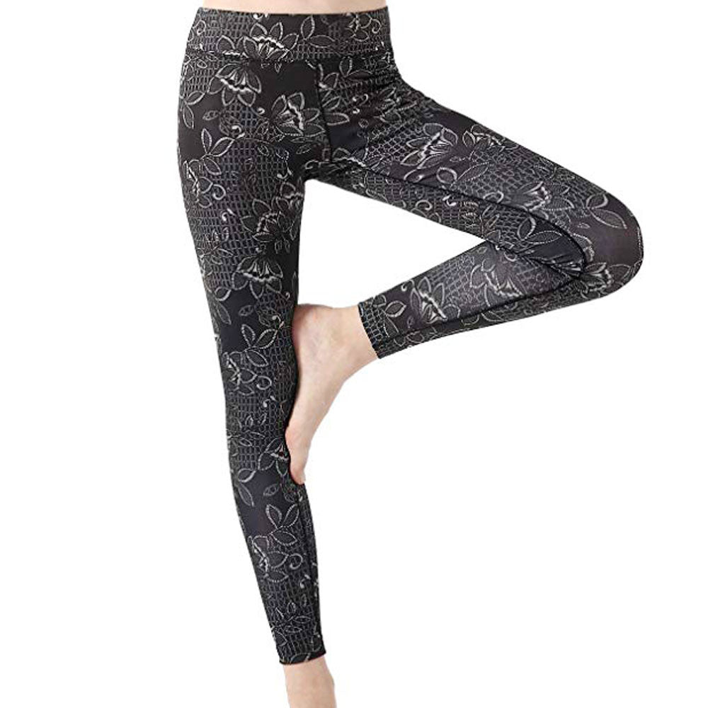 Black Flowered High Waist Legging