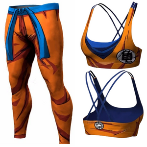 Dragon Ball Pants Compression Fitness Trousers and Sports Bra | Fitness Quick Dry Pant | Tight 3D Dragon Ball Z Anime