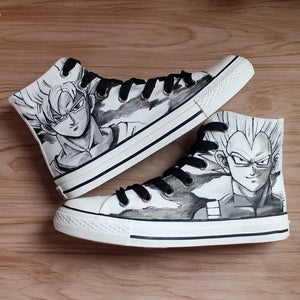 Dragon Ball Hand Painted Canvas Shoes | Cool Saiyan Son Goku Graffiti Cos Boots