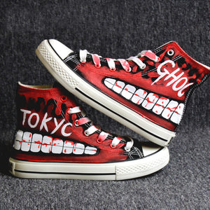 Hip-hop street dance Tokyo Ghoul Graffiti Canvas Shoes Spring Hand Painted Shoes Halloween Breathable Sneakers A51403
