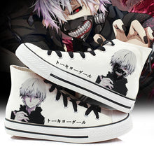 Load image into Gallery viewer, Women Tokyo Ghoul Cosplay Canvas Shoes Casual Hand Painted High-Top Shoes size 43 Kaneki Ken Student style Sneakers A50908