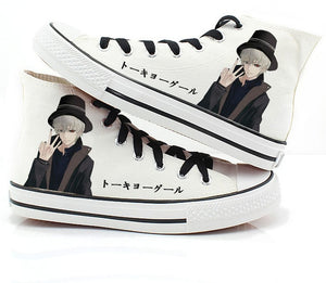 Women Tokyo Ghoul Cosplay Canvas Shoes Casual Hand Painted High-Top Shoes size 43 Kaneki Ken Student style Sneakers A50908