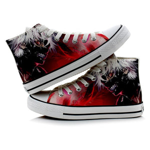 Female Fashion Cute Tokyo Ghoul 3D Printing Shoes Casual Kaneki Ken High-Top Flat Canvas Sneakers Zapatos Mujer A50910
