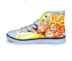 FORUDESIGNS Fashion Anime Dragon Ball Z Mens High-top Vulcanized Shoes One Piece Print Canvas Shoes for Boys Autumn Sneaker Shoe