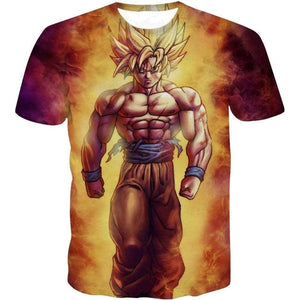 Super Saiyan 3D T Shirt Anime Dragon Ball Z Goku Summer Fashion Tee Tops Men / Boys Master Roshi Print Clothes Cartoon T-shirt