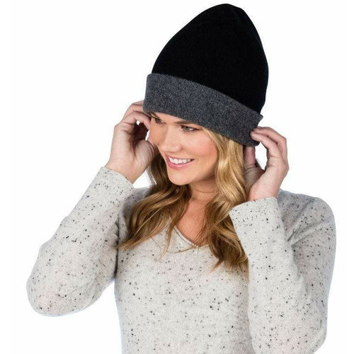 Cashmere Reversible Beanie Hat in Black and Graphite